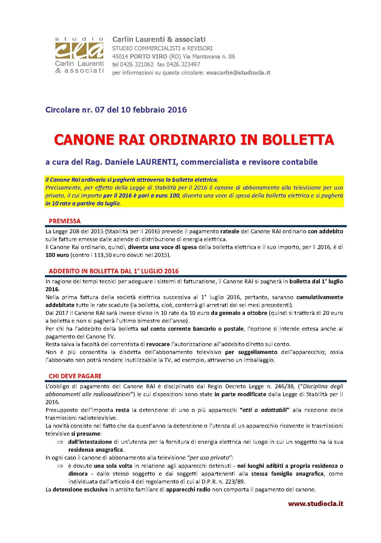 Canone RAI In Bolletta